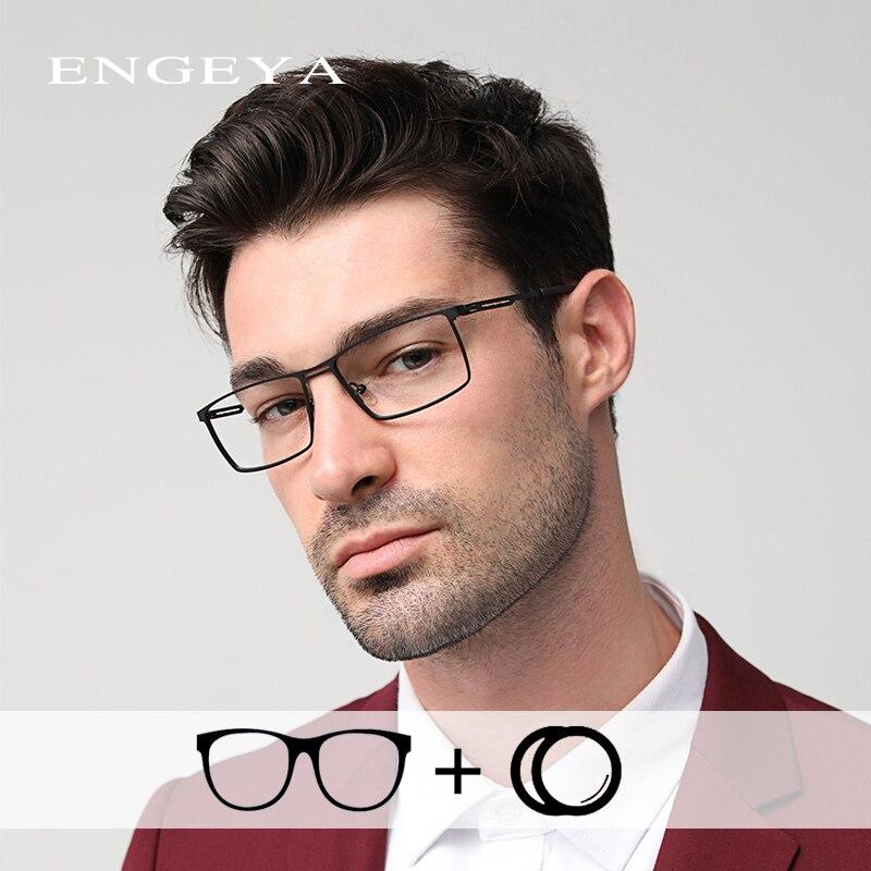 سبيكة الرجال وصفة طبية نظارات خفيفة للغاية الأزياء الديوبتر واضح شفافة قصر النظر البصرية وصفة طبية نظارات # IP9009