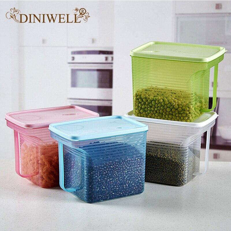 DINIWELL Plastic Food Storage Box Kitchen Sorting Sealed Crisper Grains Tank Storage Food Organizer Cereal Bean Container
