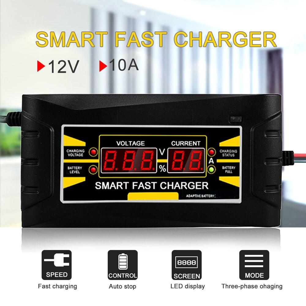 Volledige Automatische Smart 12V 10A Lood-zuur/Gel Accu Charger W/Lcd-scherm Us Plug Smart Fast batterij Oplader
