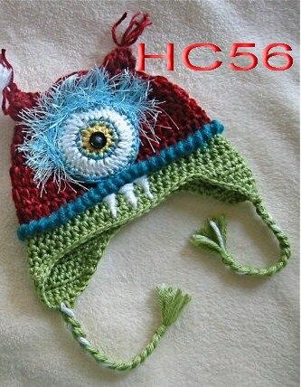 Frete grátis, nova Vermelho/Azul dos desenhos animados Cyclops BuBu Bebê Recém-nascido Criança Knit Hat Fotografia