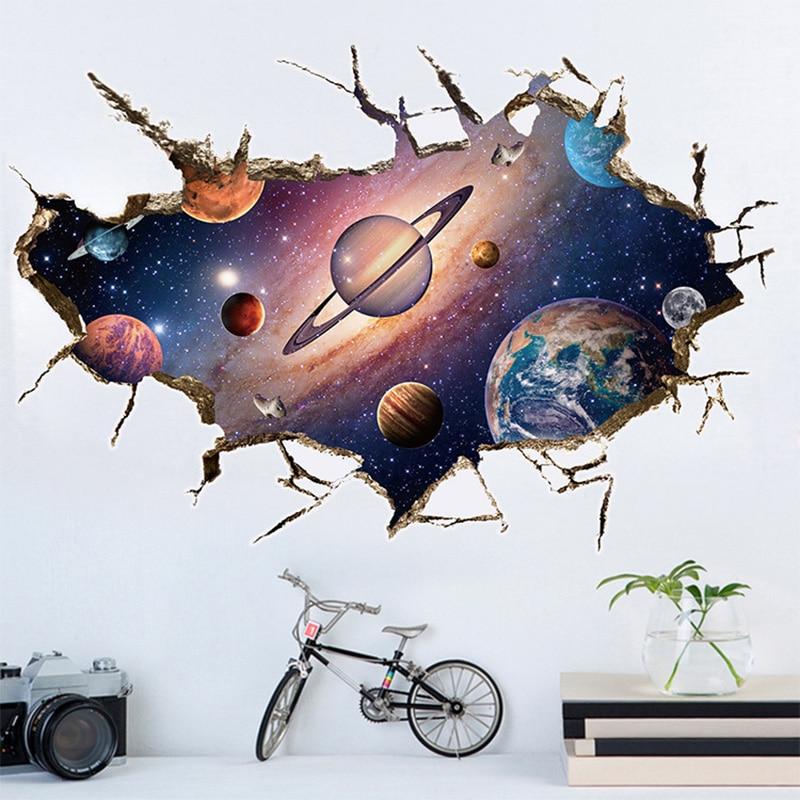 Pegatina extraíble de muro de planetas en 3D calcomanías arte mural de vinilo impermeable muro estelar universo papel para decoración de techo de habitación de niños