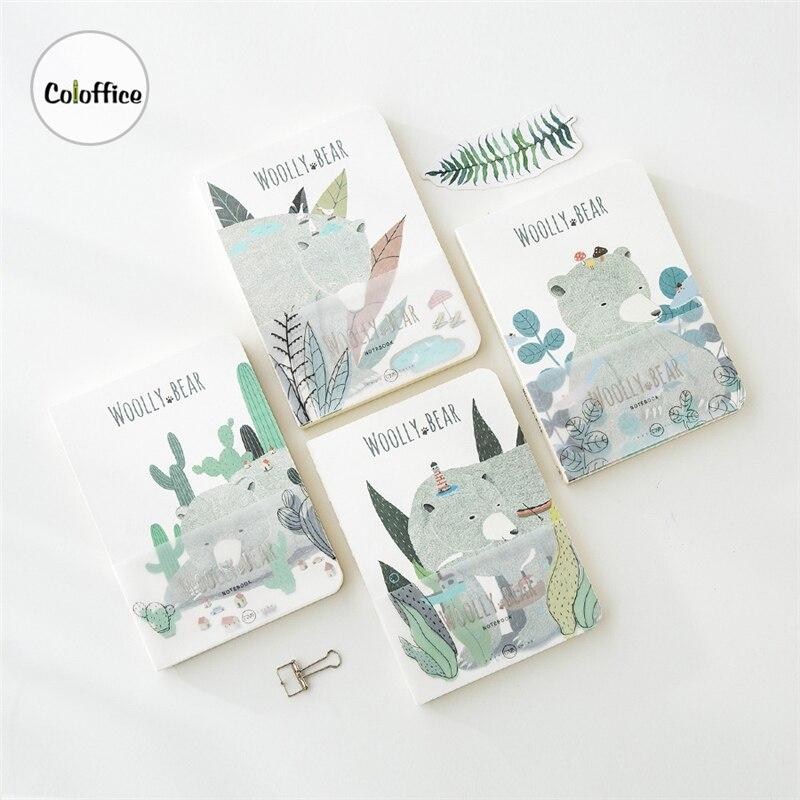 Coloffice japonés fresco A5 13x18cm oso animal impresión forestal Joural diario ilustración cuaderno papelería escuela Oficina regalos
