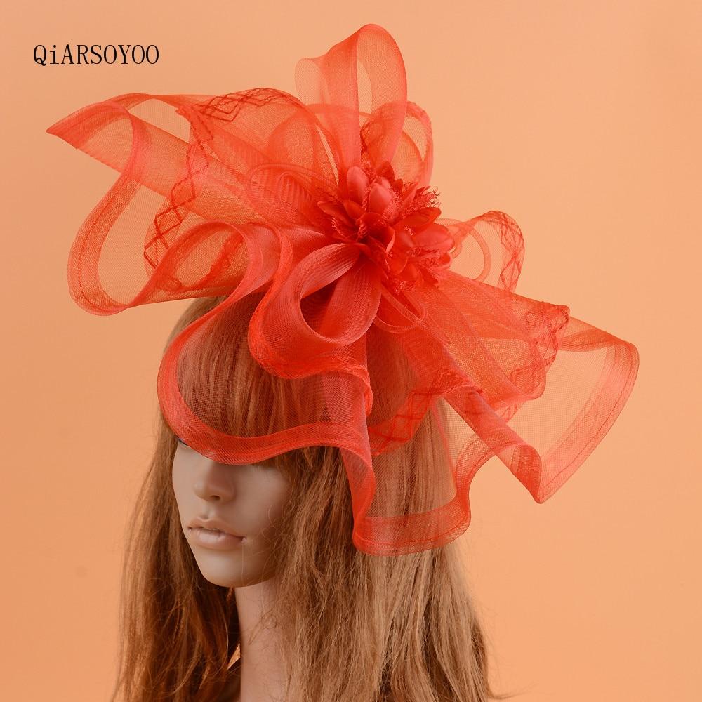 Sombrero de boda Vintage rojo Fascinator para mujer grande Vogue malla gasa flor horquillas sesión de fotos novia cóctel sombrerería de fiesta