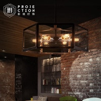 Archaistic transparent glass box lampshade retro loft vintage pendant lamp dinning room restaurant light Edison bulb lamp