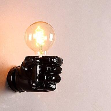 Lámpara de pared LED de estilo nórdico con diseño de puño creativo, moderna, para sala de estar, comedor, lámpara LED de resina, lámpara de pared, aplique negro