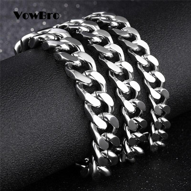 VowBro Mens Bracelet Chain Polished Stainless Steel Silver  Chains Bracelet for Men Women Cuban Link 3/4/6/7mm