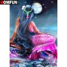 "HOMFUN 5D DIY Diamond Painting Full Square/Round Drill ""Cartoon mermaid"" Embroidery Cross Stitch gift Home Decor Gift A08473"