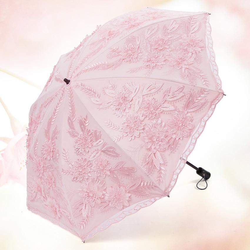 Top-grade Dual- folding Mini Umbrella Rain Women sun umbrellas  for female Lace Princess Umbrella Embroidery wedding Umbrella enlarge