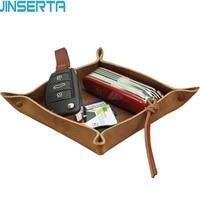 JINSERTA Genuine Leather Valet Trinket Tray Dice Rolling Tray Handmade Jewelry Key Wallet Coin Desktop Sundries Storage Box