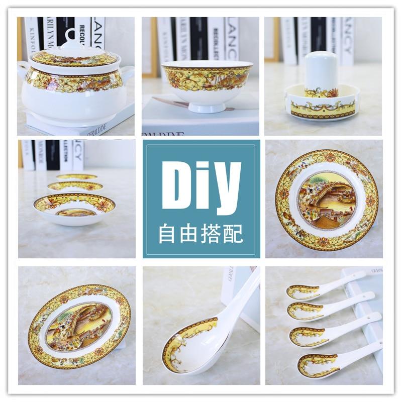DIY tigela pratos de sopa panela de sopa pan pan pan peixe placa plana Hotel porcelana Jingdezhen glaze pastel Qingming Rio Mapa