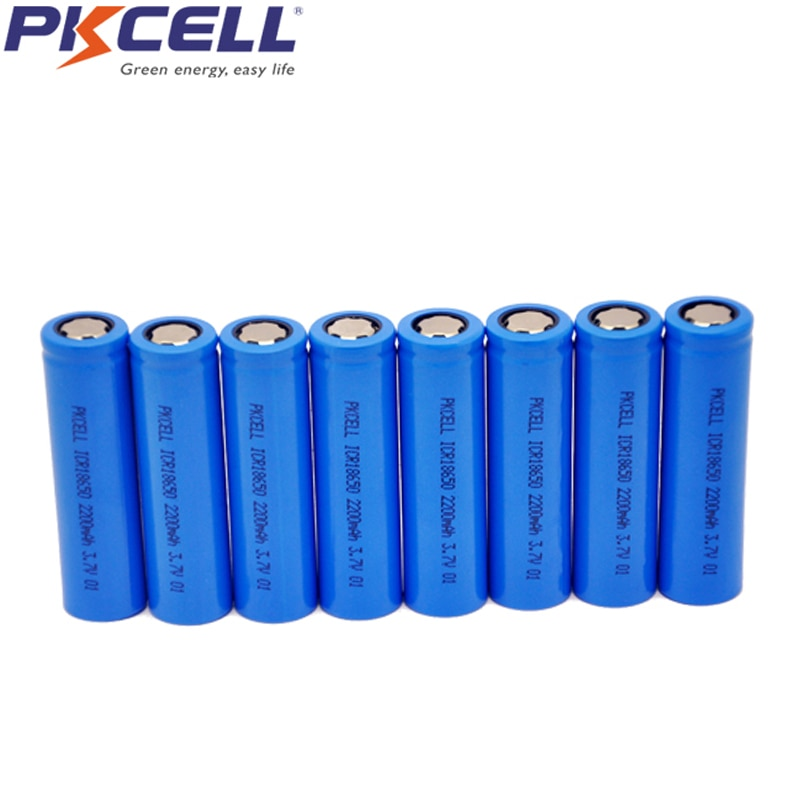 8 Uds PKCELL ICR 18650 ICR18650 3,7 v batería recargable de iones de litio 2200mAh tapa plana NO Pcm para linterna