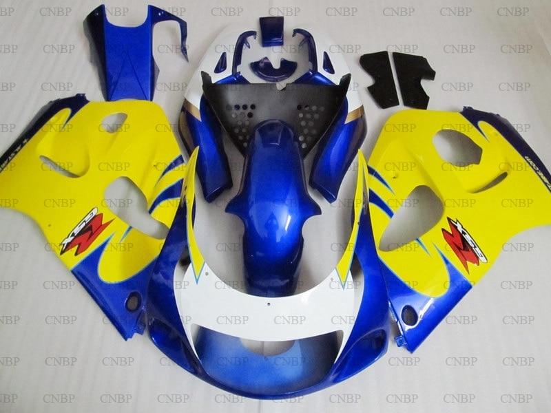 GSXR 600 K 5 1996 Kits de cuerpo GSXR600 1996 - 2000 Amarillo Blanco carenado azul para motocicleta GSXR 600 K 5 1999 carenado de Abs