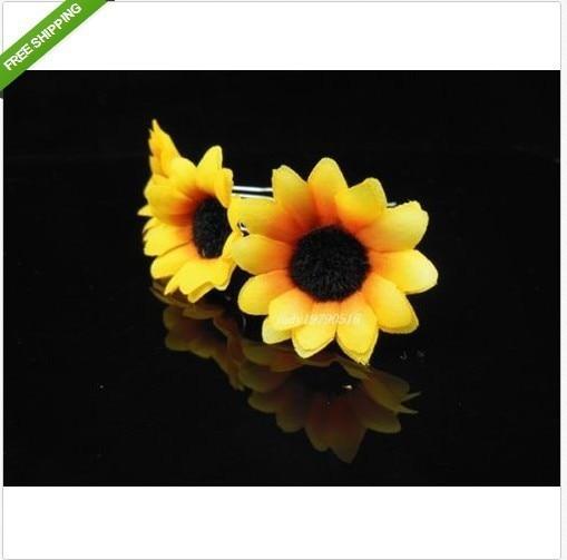 NEW Free Shipping 100Pcs/lot Wedding Bridal Prom Yellow Sunflower Hair Pins Hair Accessory Hair Clip cute small barrettes