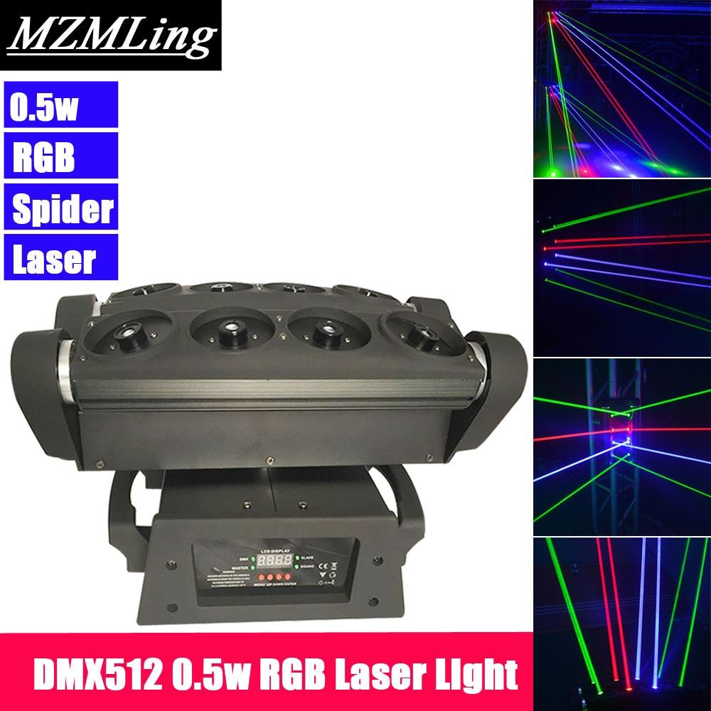 Luz láser RGB 0,5 w DMX512 luz de la viga de araña luz con cabezal móvil DJ/Bar/fiesta/espectáculo/etapa luz LED máquina de escenario