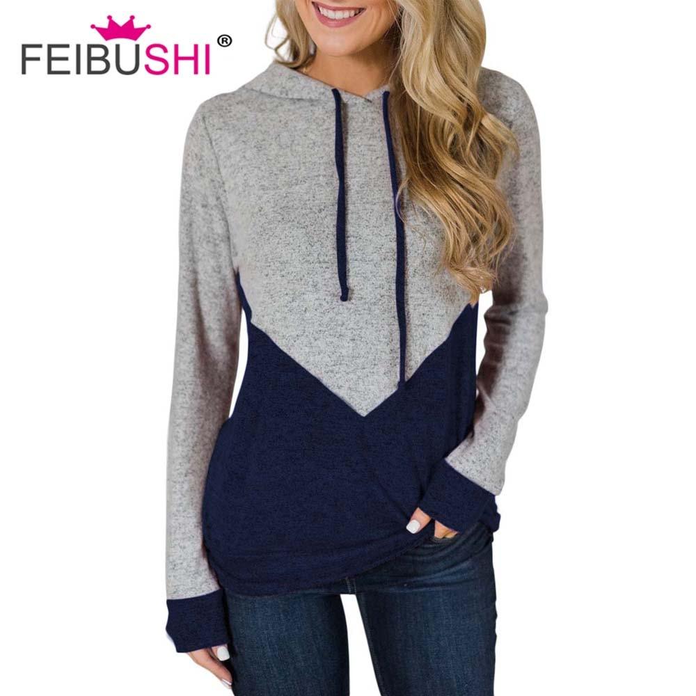 FEIBUSHI Multicolor Sweatshirt Long Sleeve Casual Women Pullovers Gary Round Neck Cute Sweatshirt for Women adies Casual Sporty