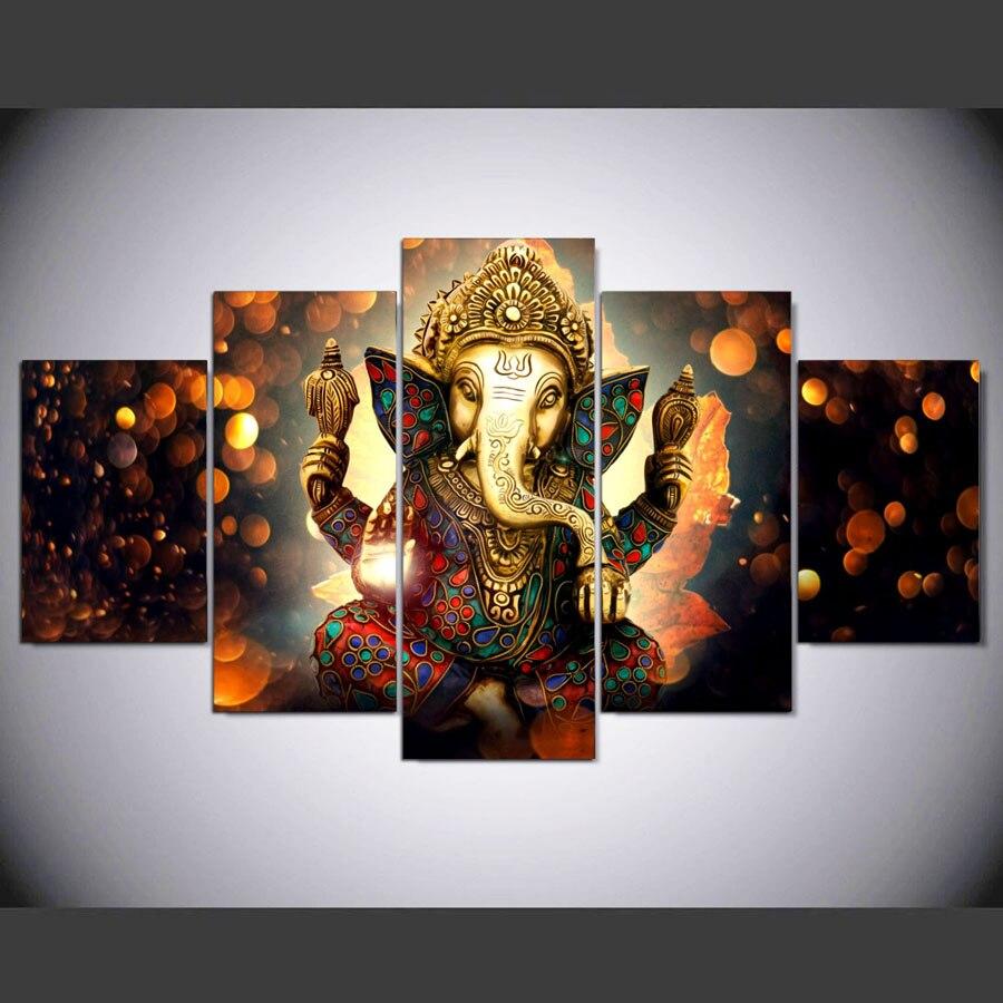 5 шт. Печать слон багажник Бог живопись с ганешей на холсте 5 панелей холст печать плакат картина домашний декор для гостиной