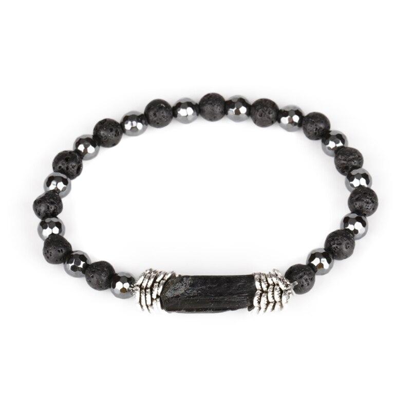 Encanto Natural duro negro turmalina curación calma Mineral cuenta de piedra 6mm piedra Lava hematita energía pulseras para hombre mujer