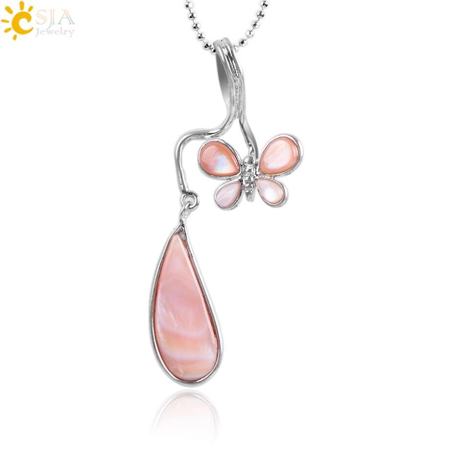 Collares de gotas de agua de concha marina Rosa CSJA Natural y colgantes para mujeres mariposa Animal madre de concha de perla encanto joyería E918