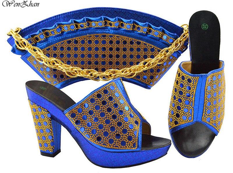 Zapatos de vestir para mujer de ocio zapatos de punta abierta con bolsos a juego en forma de abanico 2018 mujeres nigerianas azules zapatos y Bolsa DE BODA B86-12