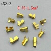 100pcs/lot DJ452-2 Pressure wire buckle terminal u-shaped copper and line deduction 6.3mm pressure line 0.75-1.5 square feet