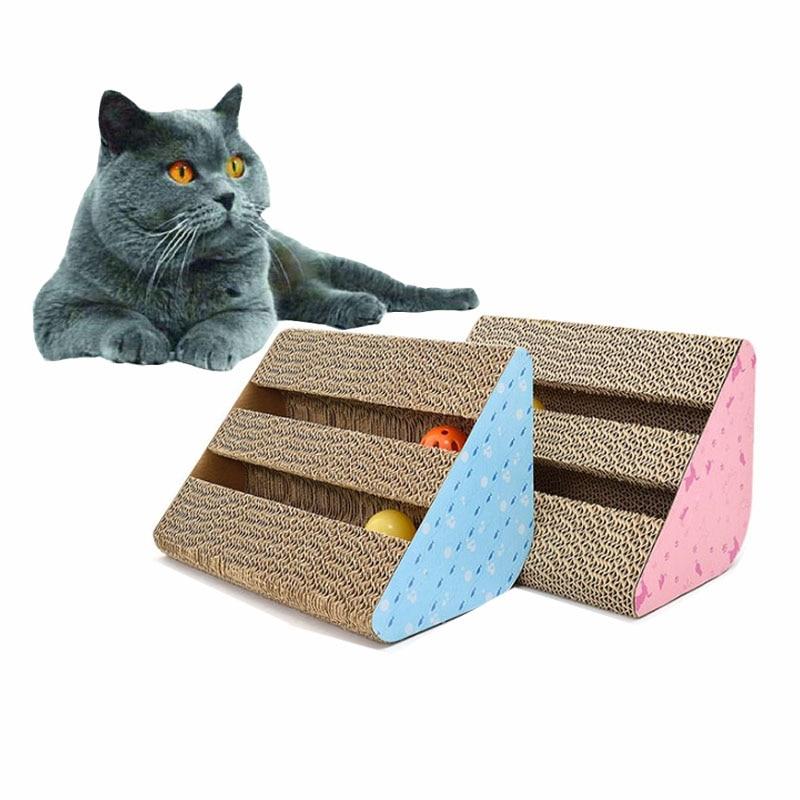 Rascador de gato jugar en forma de cuña de cartón corrugado Natural rascador para gato recortes gato juguetes de C13