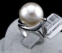 Vendita calda nuovo Stile>>>> Moda charme enorme 14mm round del sud mare bianco shell pearl ring 8 #