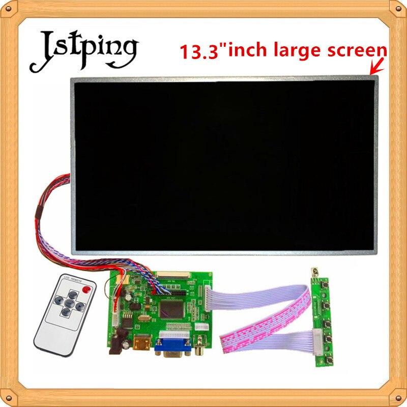 Jstping 13,3 дюйма большой контроль ЖК-дисплей монитор B133XW02 V.0 плата драйвера HDMI VGA AV для Raspberry Pi 3 lcds панель