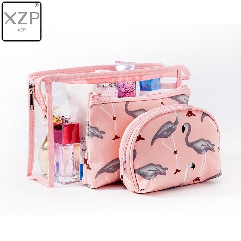 XZP 3 Pcs New Arrive Flamingo Cosmetic Bag Women Necessaire Make Up Bag Travel Waterproof Portable Makeup Bag Toiletry Kits PVC