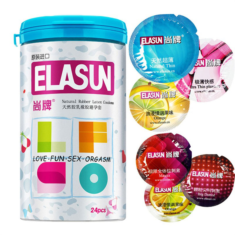 ELASUN 24 шт 5 типов ультра тонкий презервативы лед и огонь безопаснее контрацепции презерватив для мужчин, секс-товары для взрослых Секс-игрушки