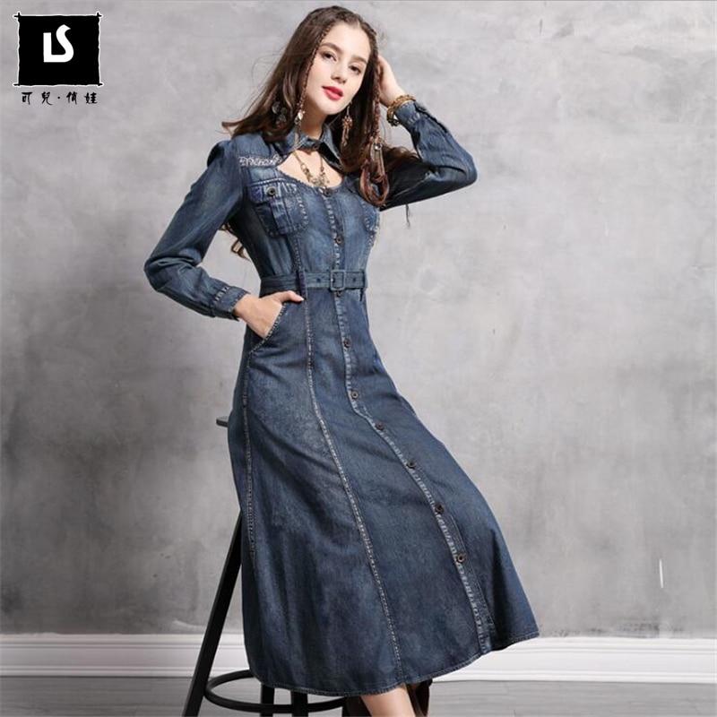 Vestido femenino 2020 primavera otoño Denim mujeres Vestidos largos Turn-down Collar Vintage bordado ceñido vestido de cintura ajustada Vestidos
