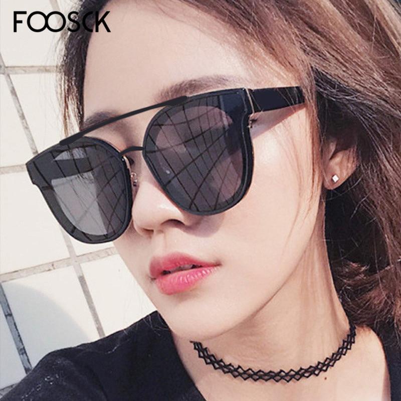 FOOSCK Top Fashion New Brand Designer Trends Flat Black Pilot Sunglasses Mirror Metal Glasses Women