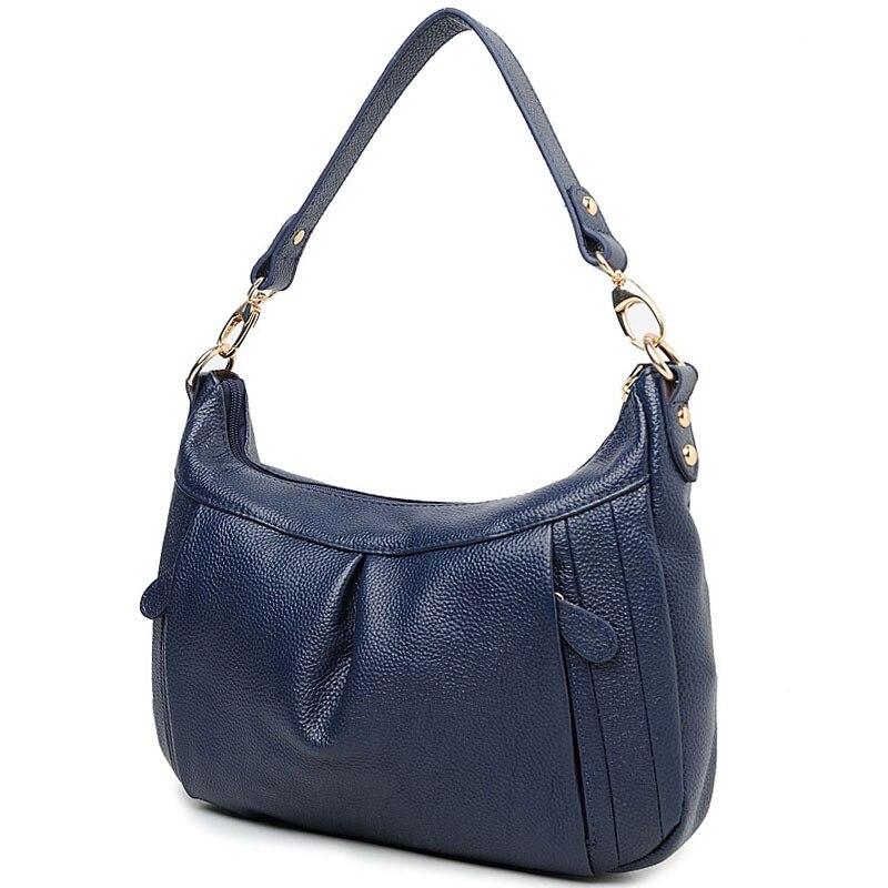 Gran oferta, bolso para mujer, bolso Hobos, bandolera de cuero auténtico para mujer, bolso cruzado de marca famosa de diseñador, negro y azul