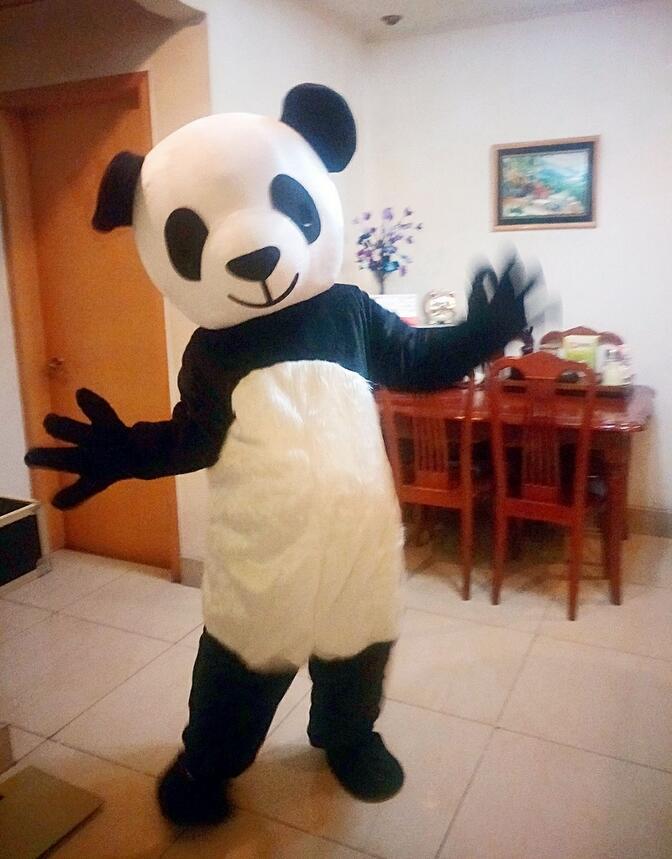 Dibujos animados de Anime disfraz de mascota Panda lindo de China publicidad Animal tamaño adulto para vestido de adulto