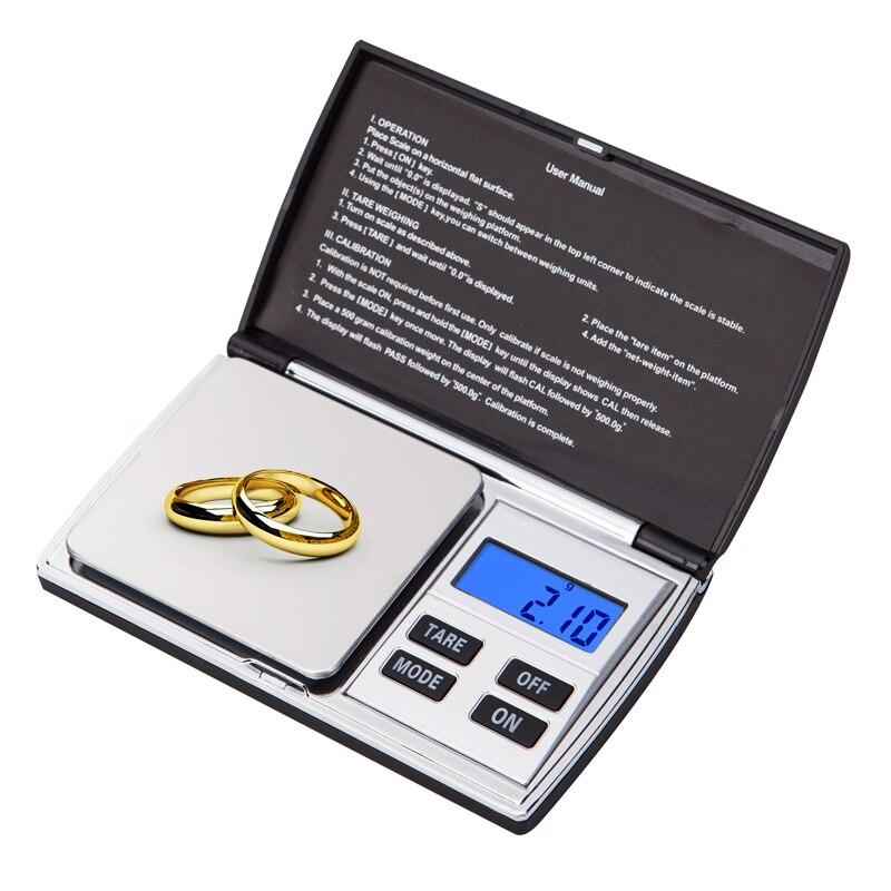 Balanza electrónica Balanza De Joyería digital 0,01g 500g Mini recarga quilates diamante oro gramo Bijoux peso libra de escala bascula LCD