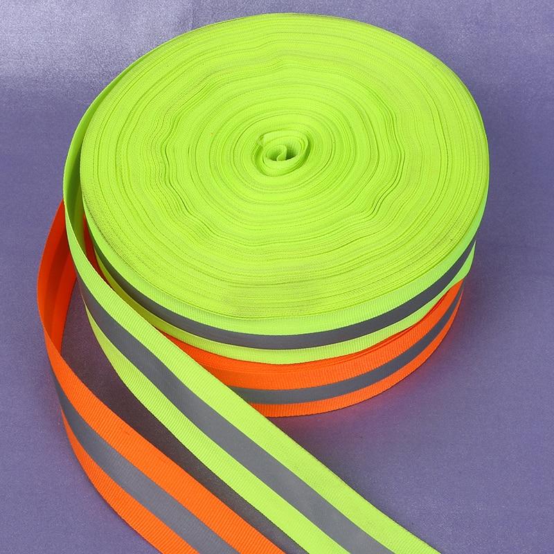 Светоотражающие ленты 100 метров, светоотражающая ткань, швейная лента, ширина 5 см * 1,5 см, предупреждающий материал ленты
