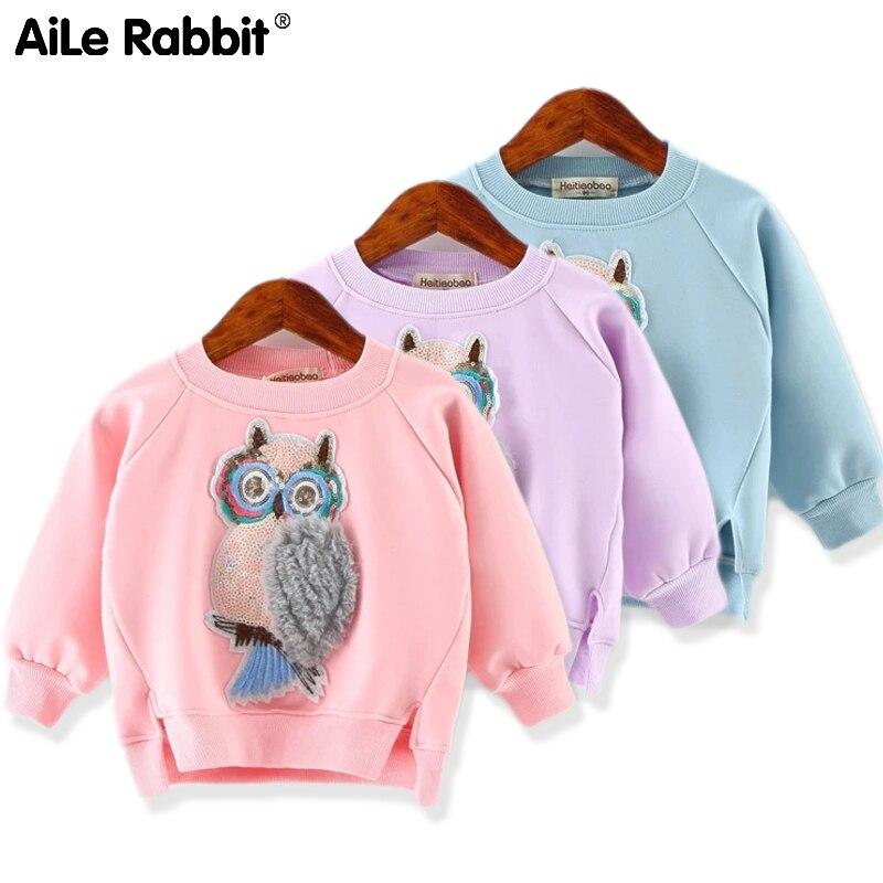 Suéter de moda de otoño para niñas, camiseta de manga larga con dibujo de búho, ropa de moda para niñas, ropa para niños para niñas