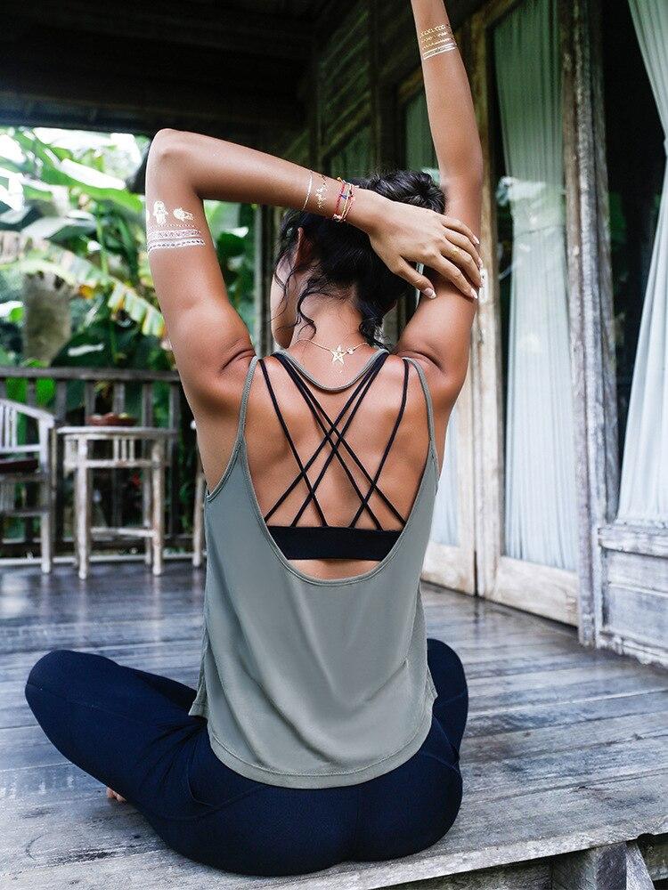 Camisa Mulheres Ginásio de Esportes Yoga Colete Sem Mangas Soltas Camisas Respirável Correndo Workout Gym Com Tiras Roupas Sportswear de Fitness Sólidos