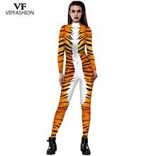 VIP mode 2019 Halloween Cosplay Costumes léopard 3D impression Animal Zentai serpent combinaison combinaison