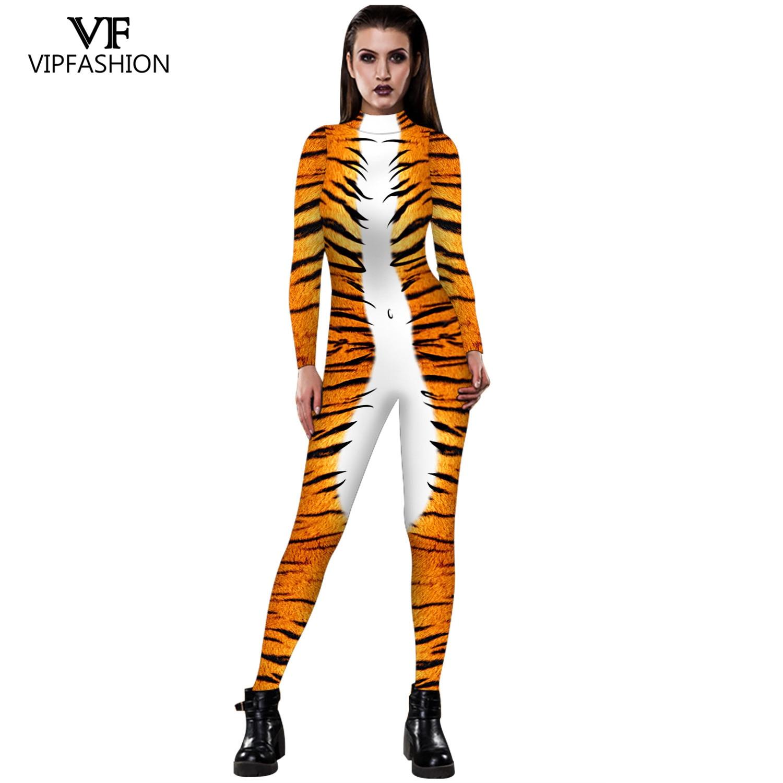 VIP MODE 2019 Halloween Cosplay Kostüme Leopard 3D Druck Tier Zentai Schlange Body Anzug Overalls