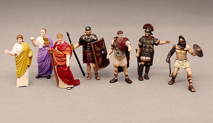 Figura de pvc Mini miniatura antigua marioneta Europea emperador romano gladiador señora Caesarr El gran modelo ornamentos 7 unids/set