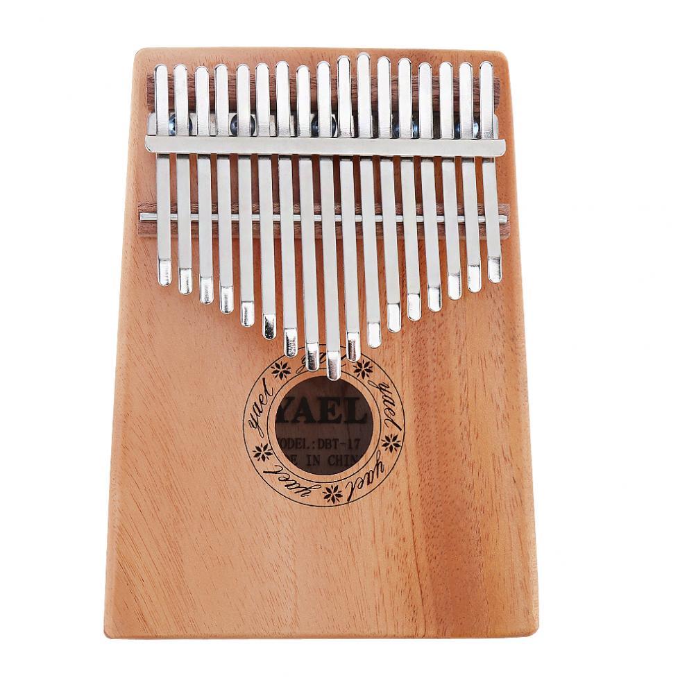 17 Key Kalimba Solid Mahogany Thumb Piano Mbira Natural Professional Portable Mini Keyboard Instrument with 7pcs Accessories
