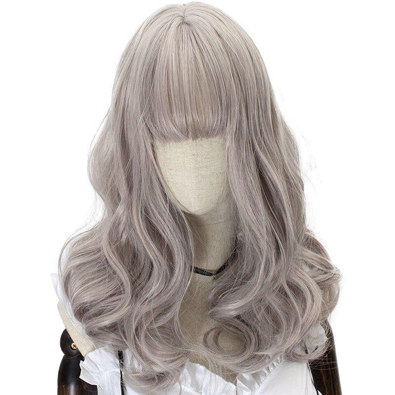 Peluca HSIU Harajuku Lolita, peluca de princesa para mujer, bonita y dulce peluca Lolita Cosplay gris Rosa Vintage nuevo europeo de alta calidad