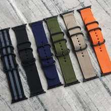 Bracelet de montre intelligent en NYLON 22mm 24mm bracelet de montre pour Apple bracelet de montre 38mm 42mm bracelet otan avec anneaux Zulu noirs, boucle et adaptateurs