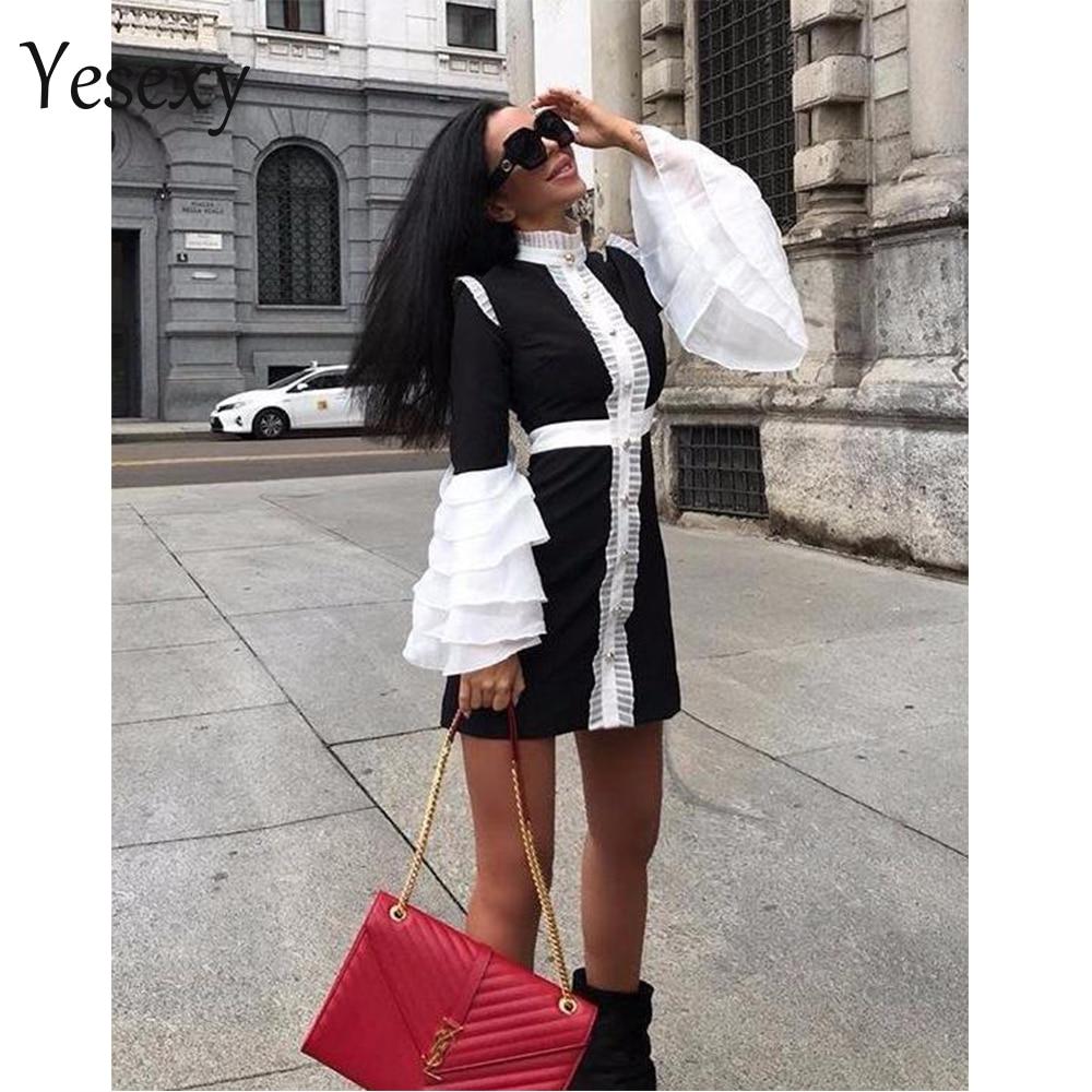 Женское мини-платье Yesexy, облегающее платье с высоким воротом и рукавами-фонариками на кнопках, модель 2020