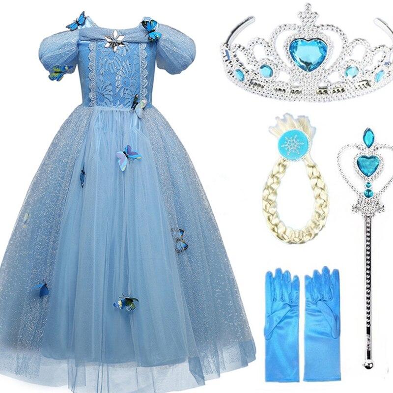 Cosplay Snow Queen Girl Anna Elsa vestido para niñas 2018 Hot High-Grade lentejuelas princesa Cenicienta fantasía niños ropa