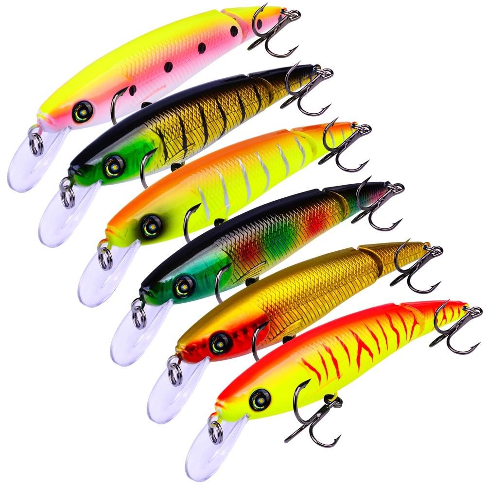 Señuelo de pesca trucha Wobbler Minnow para curricán Rattlin cebo Artificial 10,5 cm 13g 0,6-1,2 m 6 uds Salmon Peche aparejo de pesca