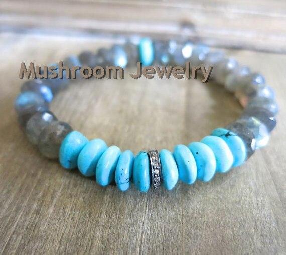 Boho Chic Pave CZ beads Roundel Labradorite Tuquoises Stretch Bracelet