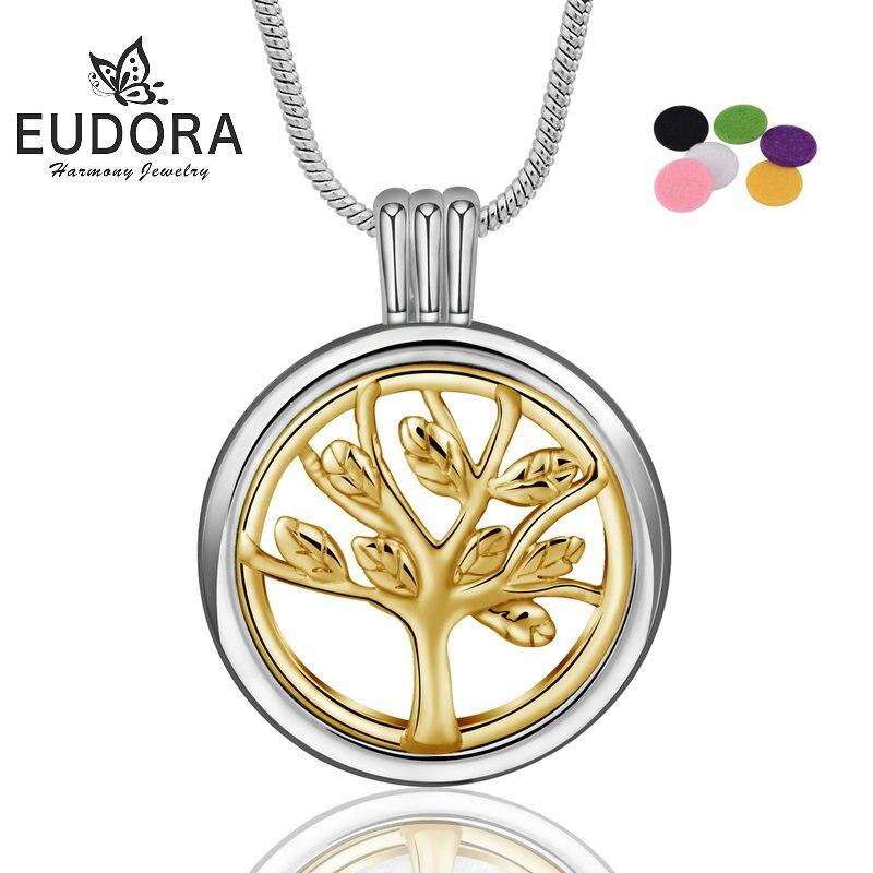 Eudora colar difusor de óleo essencial, pingente feminino perfumado, árvore da vida, aromaterapia, pingente com medalhão, joia