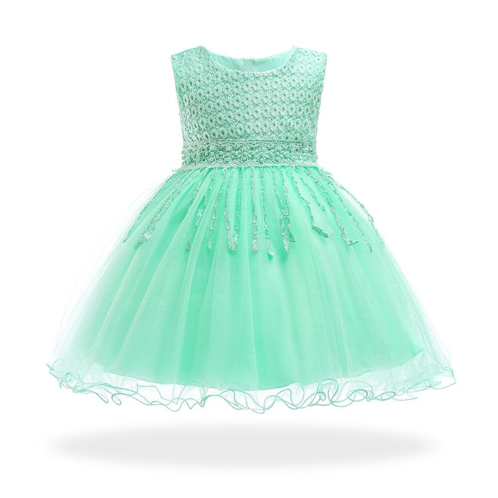 Детское платье с хлопковой подкладкой, Мятное платье для малышей на 1 год, официальное платье принцессы, 2019