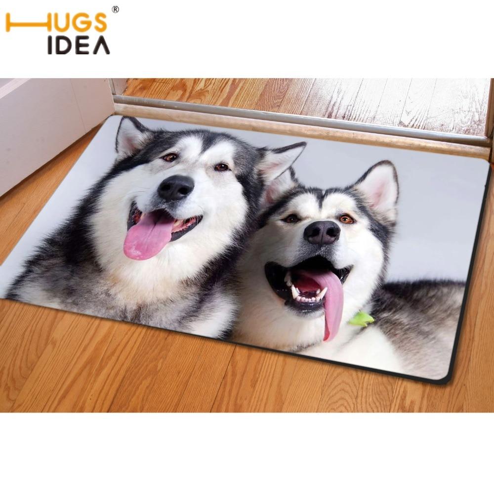 HUGSIDEA 3D Cute Husky Dog Printing Floor Carpet for Living Room Kitchen Toilet Entrance Doormat Non-slip Soft Area Rugs Tapete